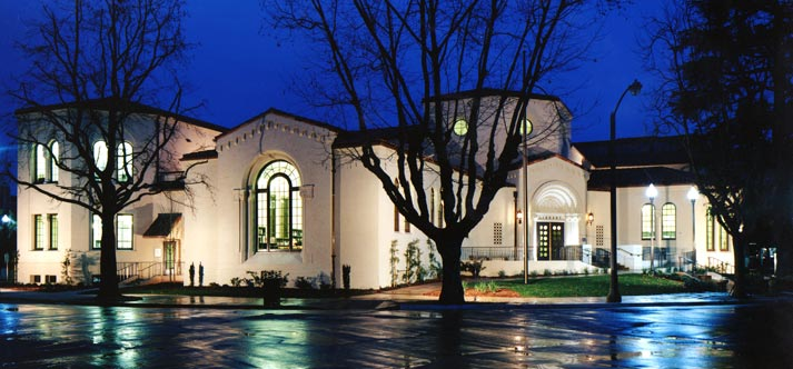Burlingame Library at Night