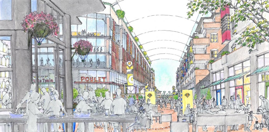 Concept for a retail oriented pedestrian Paseo within the TOD development at Millbrae