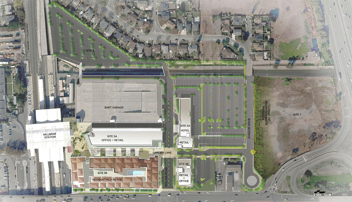 Site Plan Millbrae BARTCaltrain Station Transit Oriented Development