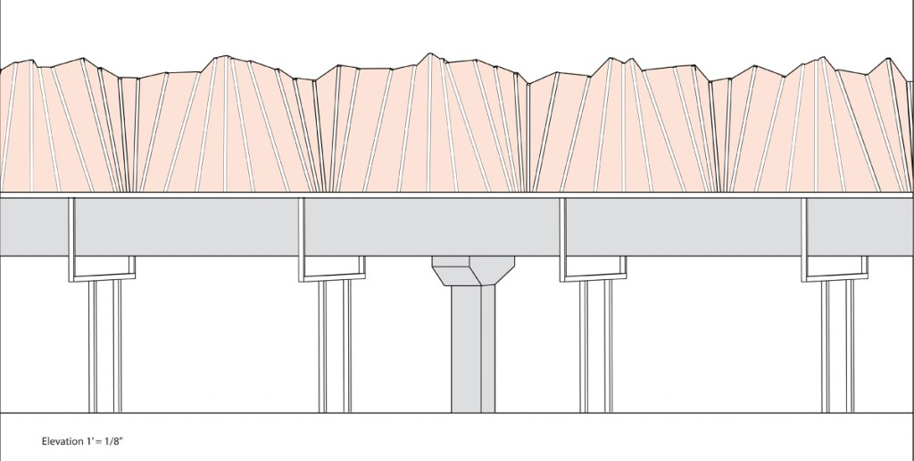 8. Elevation View of a possible sound barrier solution on the elevated platform. The shapes and geometry in the design were informed by sound samples & analysis taken at the West Oakland BART station