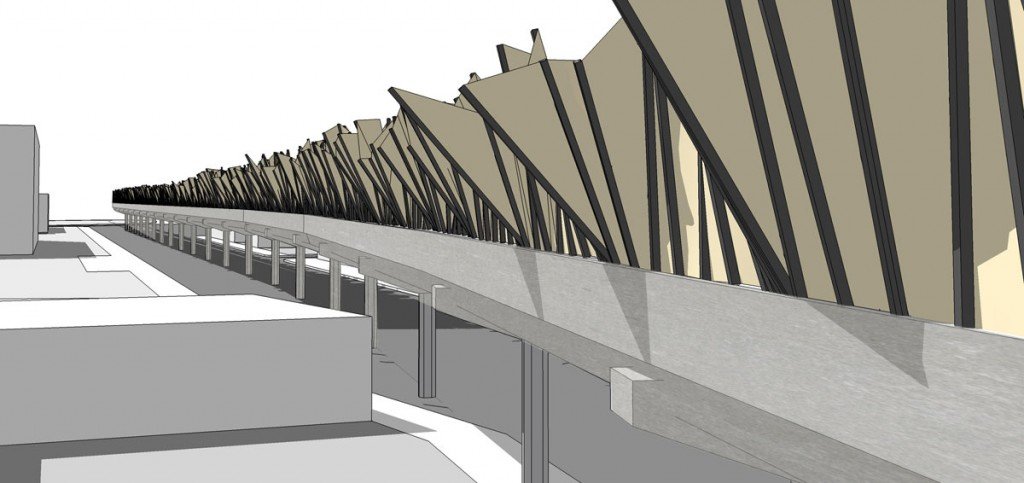 10. Perspective of a possible sound barrier solution on the elevated platform. The shapes & geometry in the design were informed by sound samples & analysis taken at the West Oakland BART station.