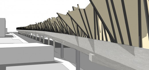 Perspective of a possible sound barrier solution on the elevated platform. The shapes & geometry in the design were informed by sound samples & analysis taken at the West Oakland BART station.